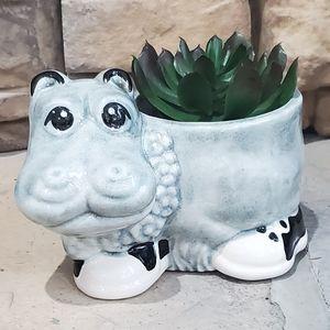 Desktop Ceramic Hippo Planter